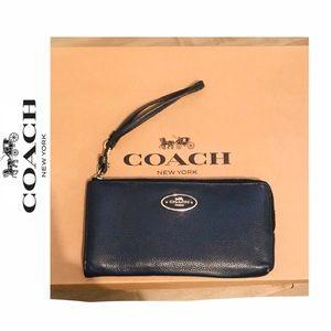 COACH Navy Pebble Leather Wristlet